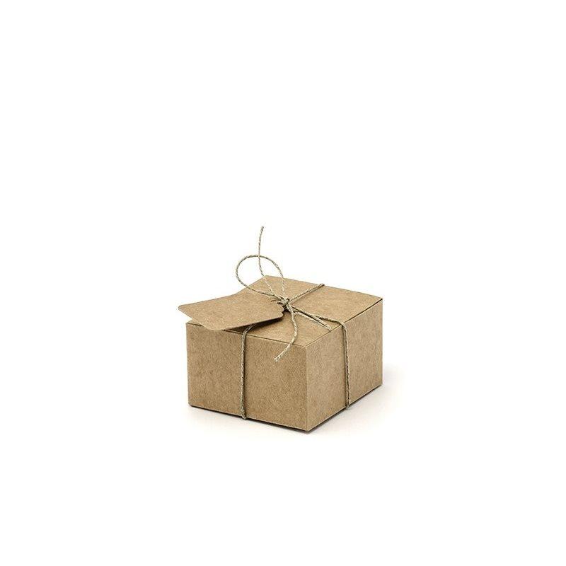 10 x Boite Cube Dragées Kraft + Lien et Etiquette