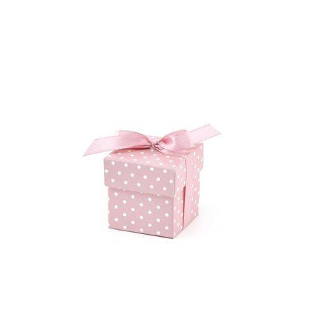 10x Boites Dragées Cube Rose Pois