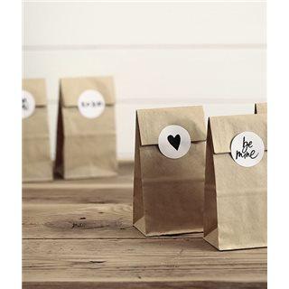 Sachet Dragées Papier Kraft + Etiquette Autocollante
