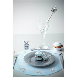 Sets de table rond uni bleu x 50