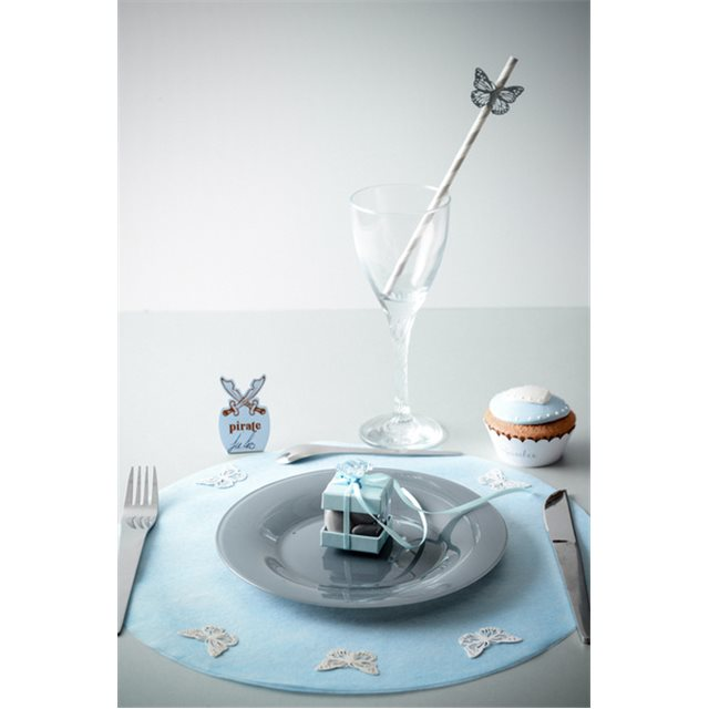 Sets de table rond uni bleu x 50
