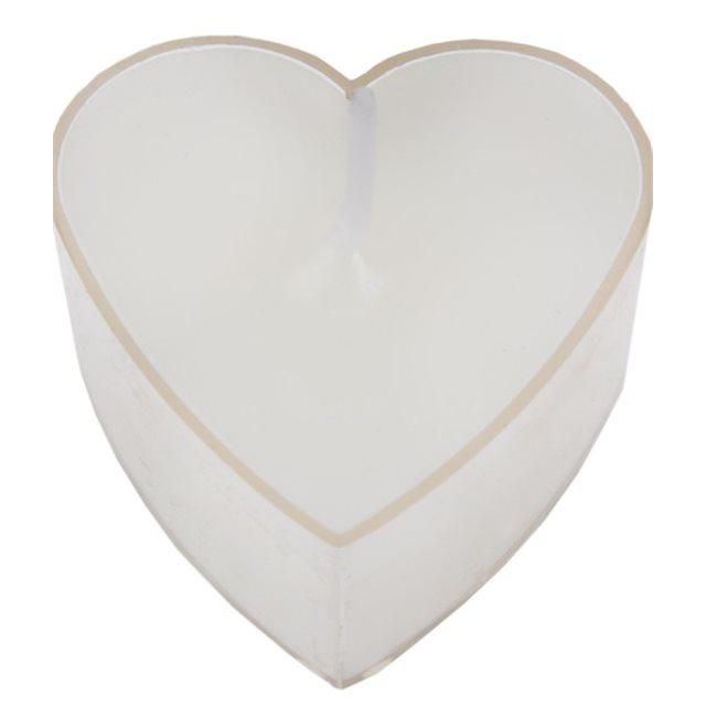 Bougie chauffe plat coeur Blanc x 4