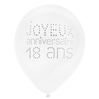 Ballon de Baudruche Anniversaire 18 ans x 8