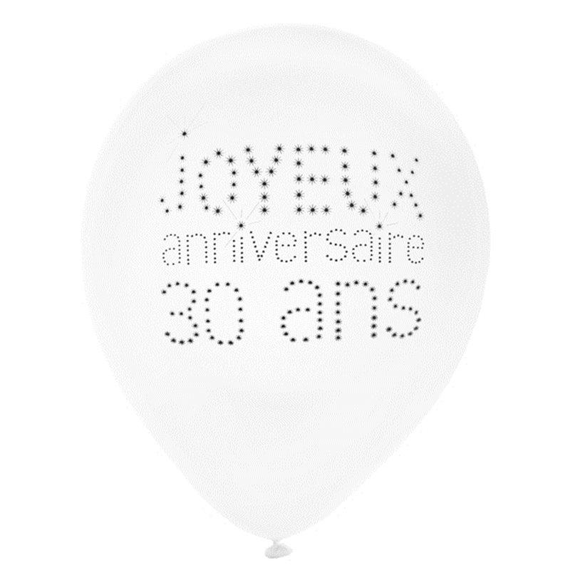 Ballon de Baudruche Anniversaire 30 ans x 8