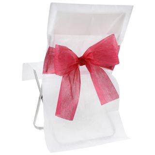 Housse de chaise noeud bicolore Blanc et Rouge x 10