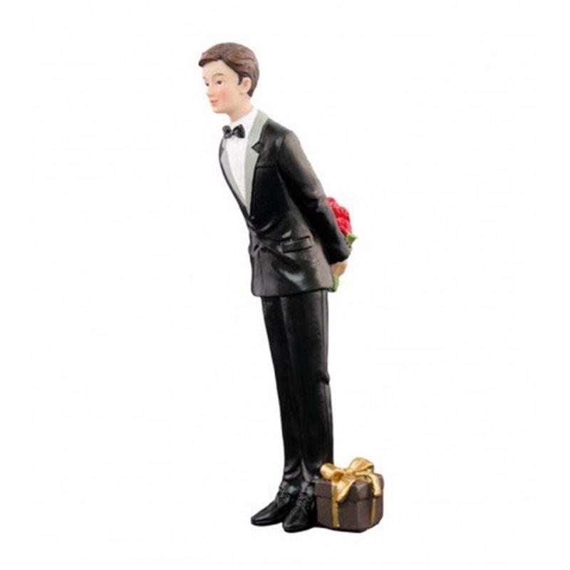 Figurine Marié Seul Bouquet et Cadeau