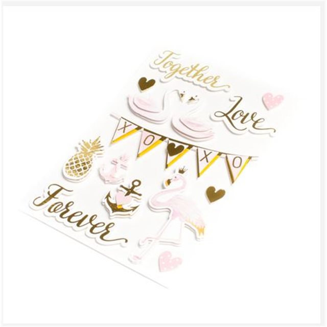 12x Stickers Amour Rose et Or