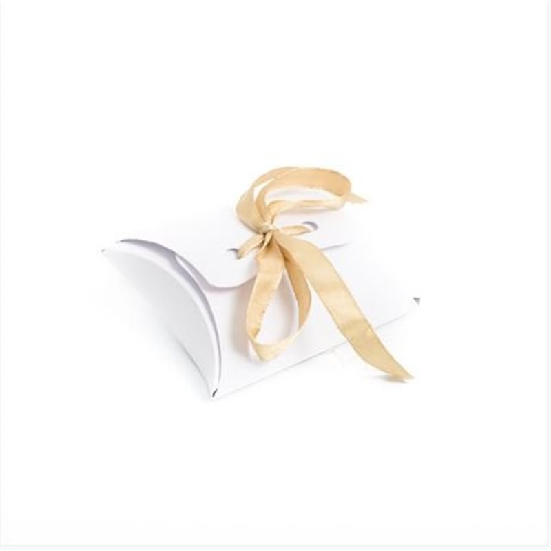 10 x Ballotin Dragées Blanc Ruban Or