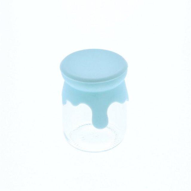Pot Dragées Verre Couvercle Silicone Bleu x1