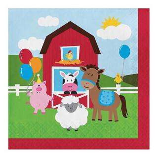 x18 Serviettes animaux de la ferme