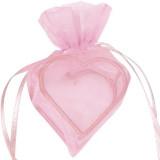 Sachet Dragées Organdi coeur armuré x 4 rose