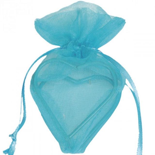 Sachet Dragées Organdi coeur armuré x 4 bleu