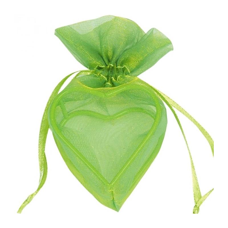Sachet Dragées Organdi coeur armuré x 4 vert