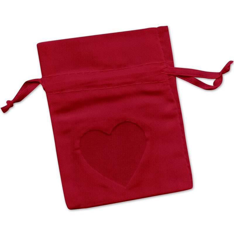 Sachet Dragées Rouge avec fenêtre coeur x 6