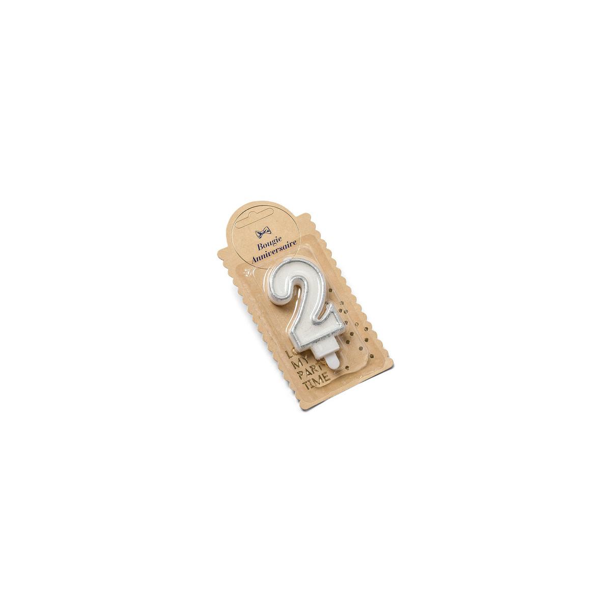 Bougie 2 ans paillette argent - 7.5 cm