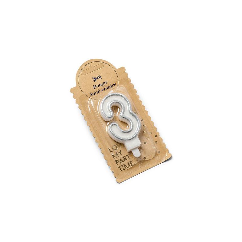Bougie 3 ans paillette argent - 7.5 cm