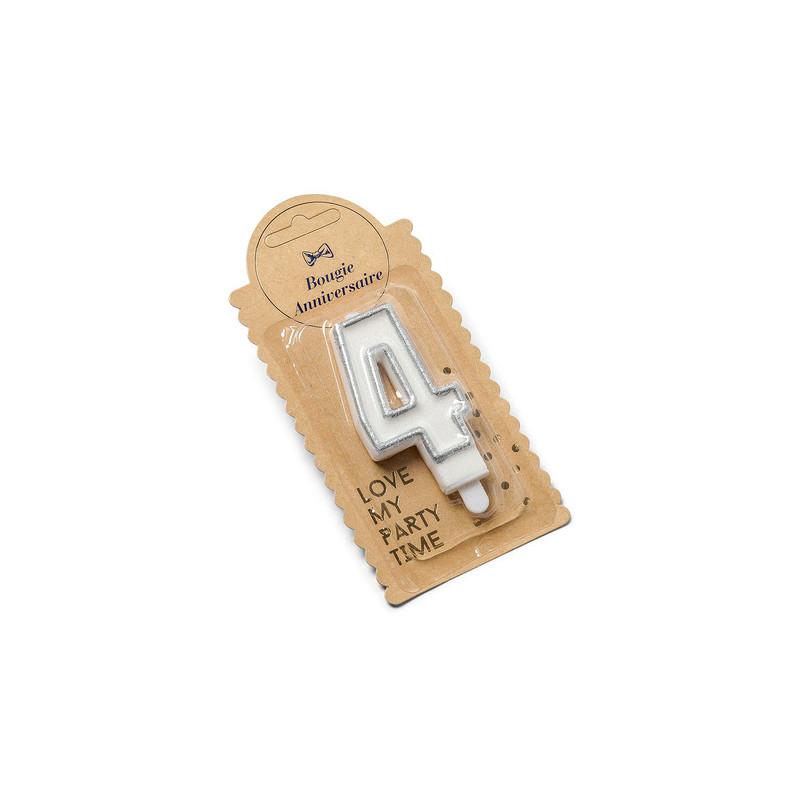 Bougie 4 ans paillette argent - 7.5 cm