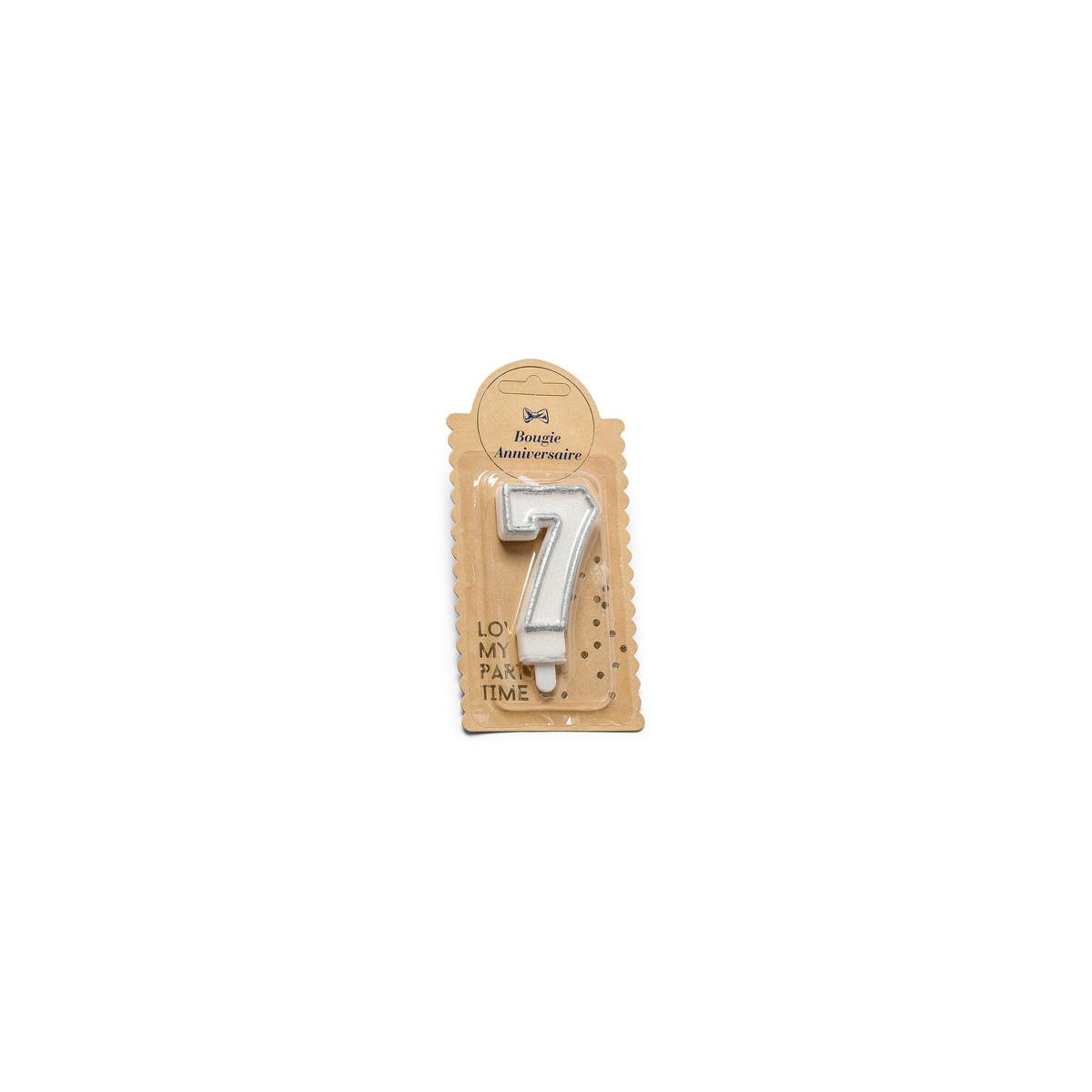 Bougie 7 ans paillette argent - 7.5 cm
