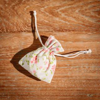 5x Sachet Dragées en lin à fleurs Liberty 8x10 cm