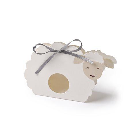Contenant dragées mouton avec ruban x6