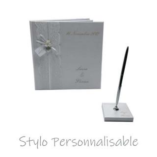 Stylo personnalisable Sur Socle - Or ou Argent