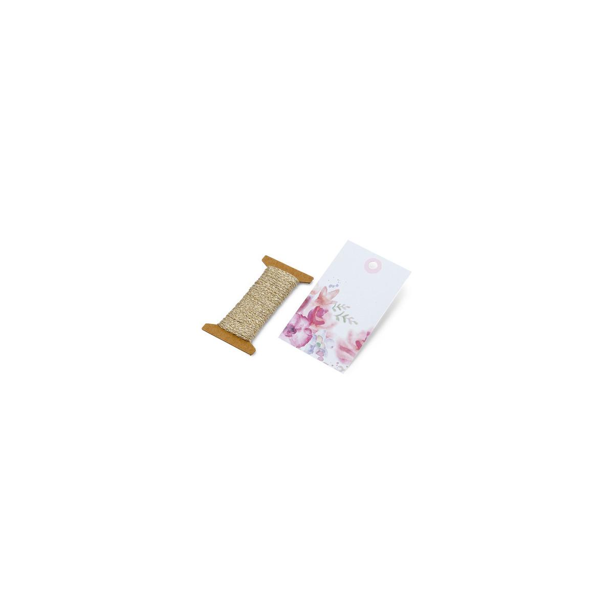 x12 etiquettes + cordelette Liberty 4,5x7,5 cm