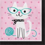 16 serviettes en papier anniversaire chat