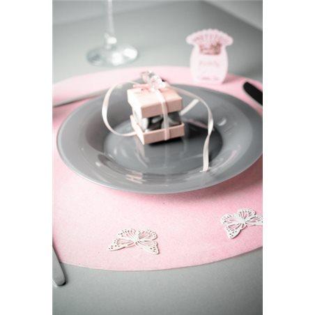 Sets de table rond uni rose x 50