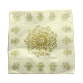 Serviette de table Orientale Or et Blanc x20