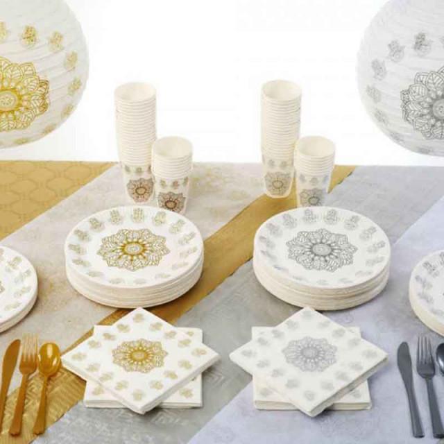 Serviette de table Orientale Or et Blanc x20