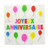 Serviette Joyeux Anniversaire Multicolore x20