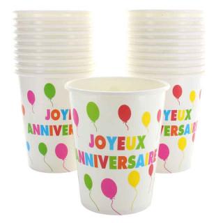 Gobelet Joyeux Anniversaire Multicolore x10