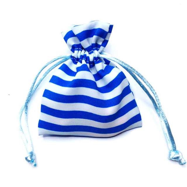 Sachet Dragées Rayé Bleu clair x5