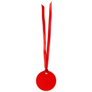 Etiquette Dragees Ronde Ruban x12 - rouge