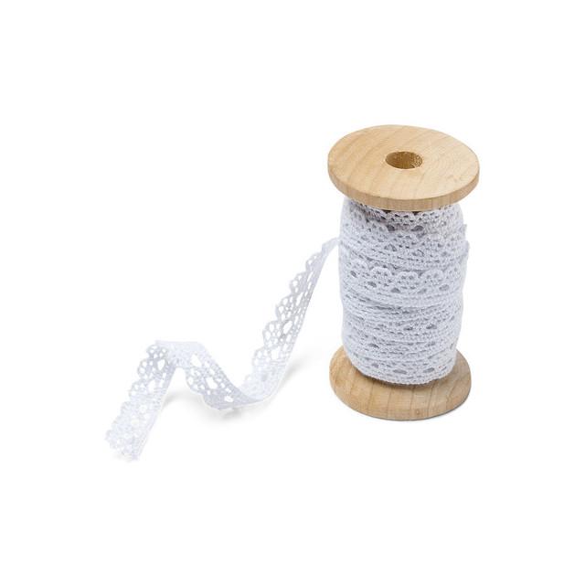 bobine bois dentelle-blanche-décoration-mariage