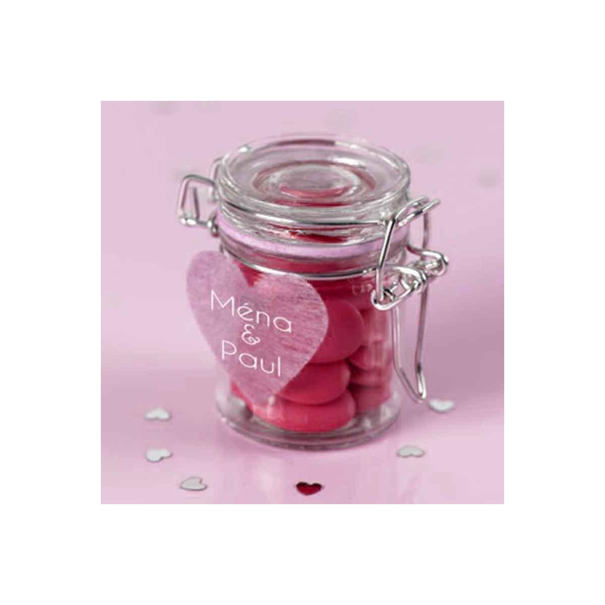 Pot Dragées Verre Hermétique Rose x1
