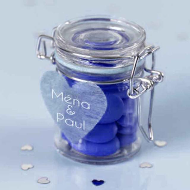 Pot Dragées Verre Hermétique Bleu x1
