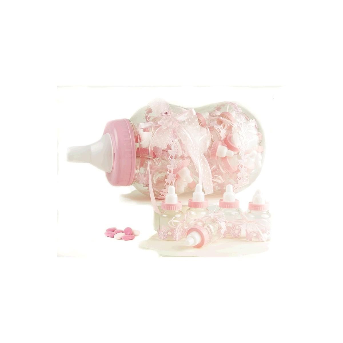 30 Contenants dragées biberon Rose + Présentoir