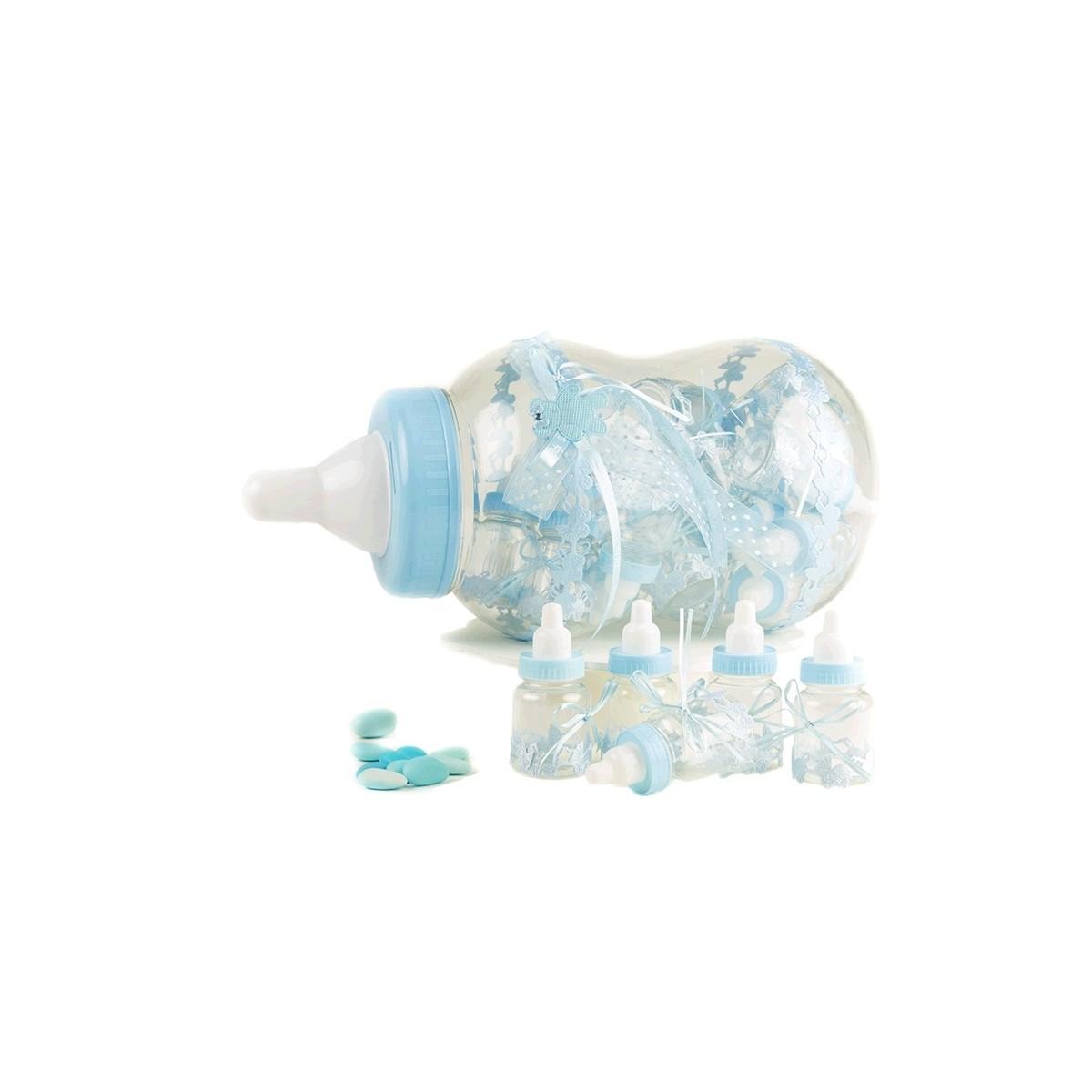 30 Contenants dragées biberon bleu + présentoir
