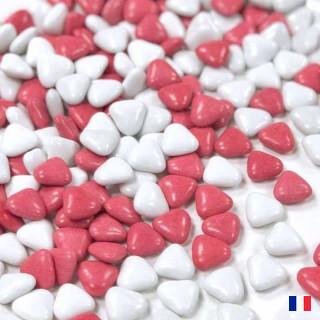 1kg Dragées Cœur Rouge et Blanc