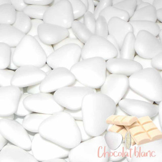 1kg Dragées Grand Coeur Choco Blanc