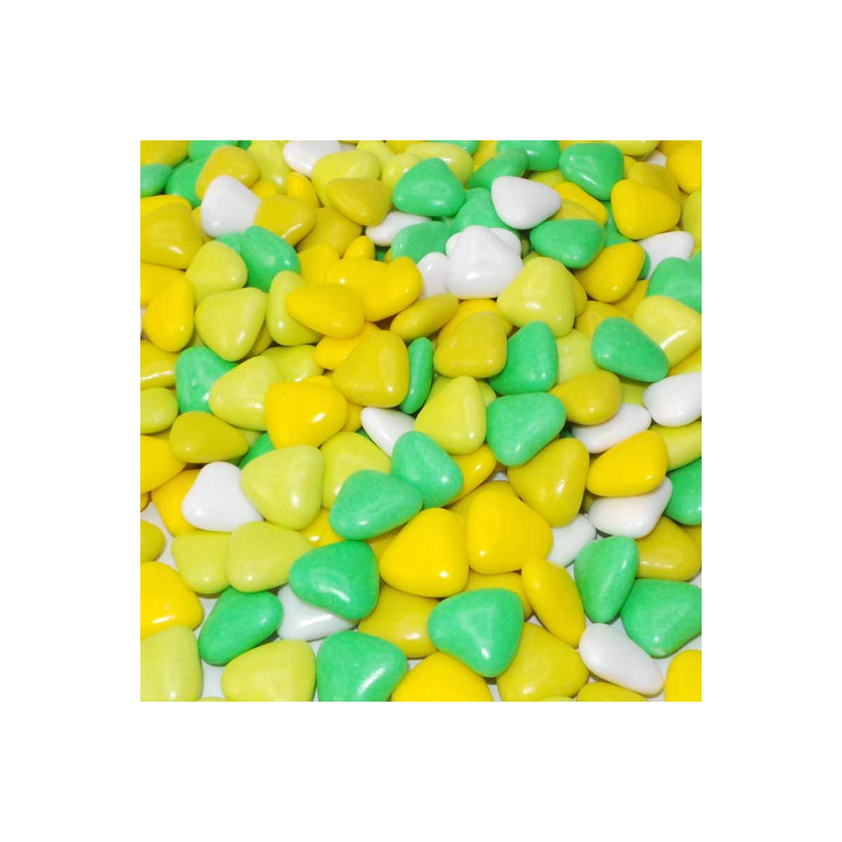 1kg Dragées Coeur Variation - Vert Jaune Blanc
