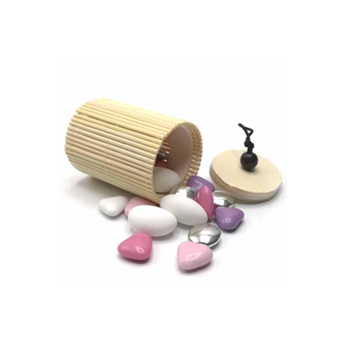 Boite Dragées Bambou Cylindre x1