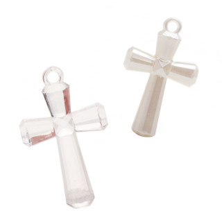 x4 Bijoux en Croix Nacrée ou Transparente