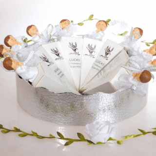 x10 boites à dragées communion en cone blanc et argent