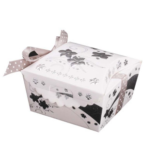 x12 boites à dragées en carton blanc et fleurs argent