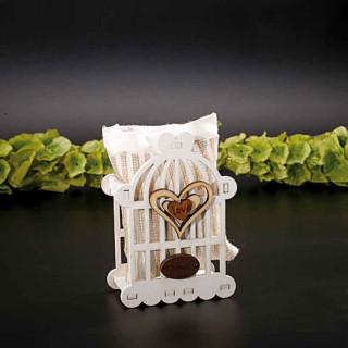 Cage en bois avec pochon en tissu LOVE fait main.