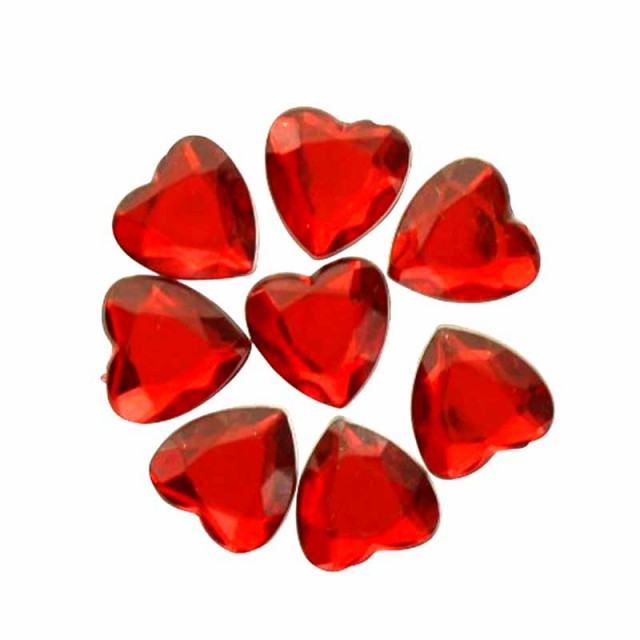 Coeurs Strass Rouge x50