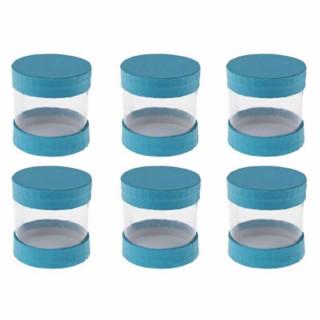 Boîte ronde bleu x 6