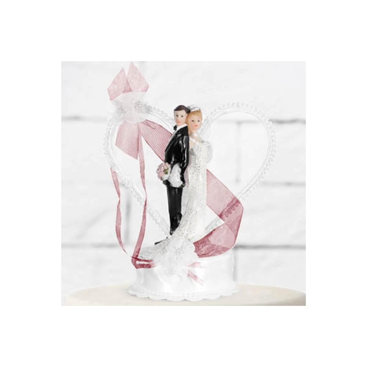 Figurine couple Mariage coeur blanc